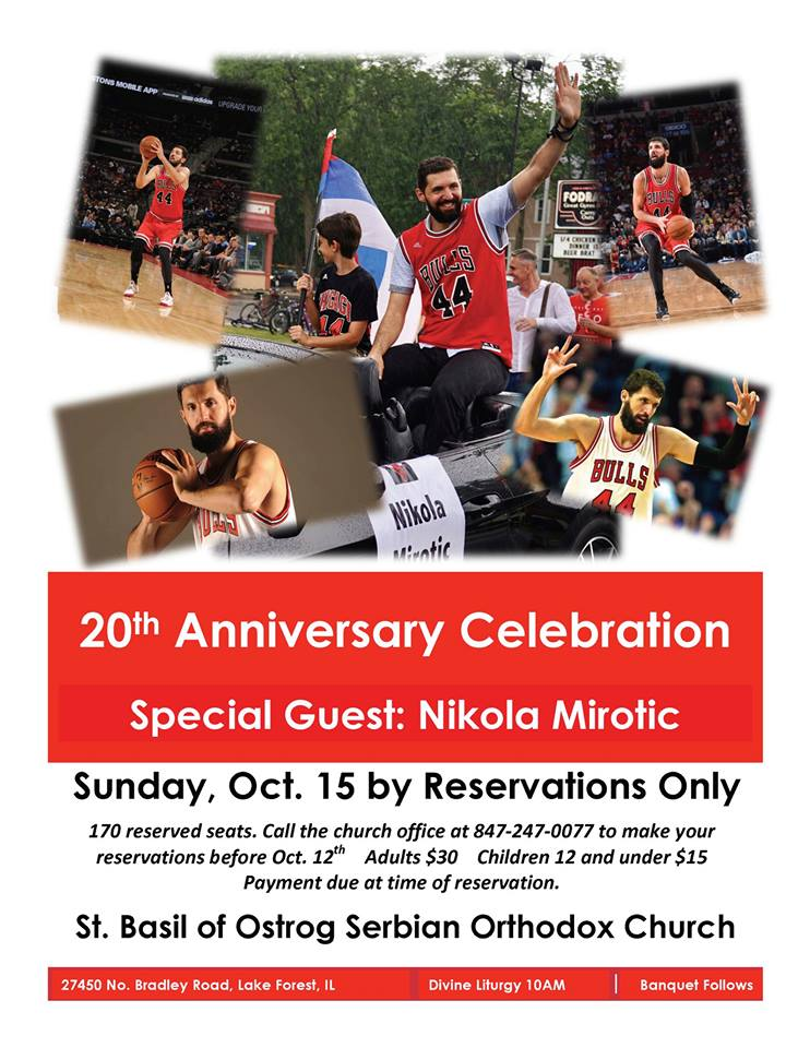 Get your tickets to the St. Basil of Ostrog Serbian Orthodox Church 20th Anniversary Banquet held on October 15. Divine Liturgy begins at 10AM. Banquet to follow immediately.