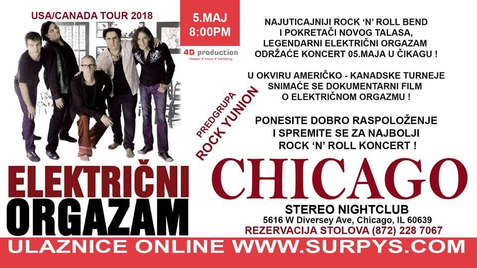 Električni Orgazam, Chicago, 05.Maj u 8PM @ Stereo Nightclub
