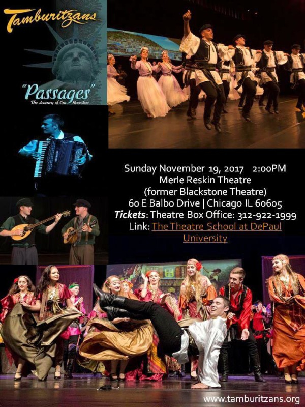 "The Tamburitzans invite you to experience ""Passages"" on Sunday November 19 at Merle Reskin Theater"