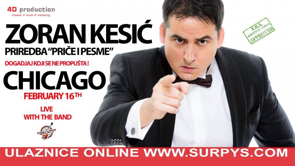"Zoran Kesić ""PRIČE I PESME"" nastup u Čikagu @ Irish American Heritage Center"