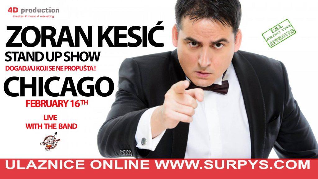 "Zoran Kesić uživo u Čikagu - STAND UP SHOW ""PRIČE I PESME"" @ Irish American Heritage Center"