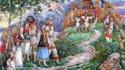 Alfons Muha – Stari Sloveni, povorka devojaka – kraljice